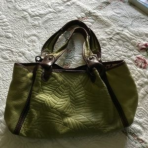 FOSSIL Green Brown Leather Hobo Shoulder Bag